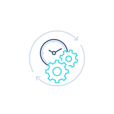 productivity line icon with stopwatch and gears