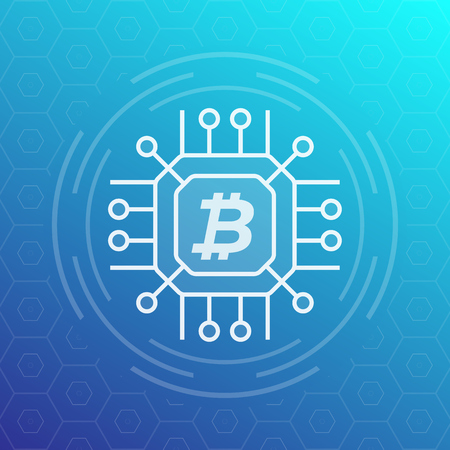 bitcoin, cryptocurrency, blockchain vector icon