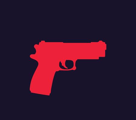 pistol, gun vector, isolated silhouette