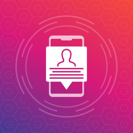 account info, profile, personal data in smartphone, vector icon Illustration