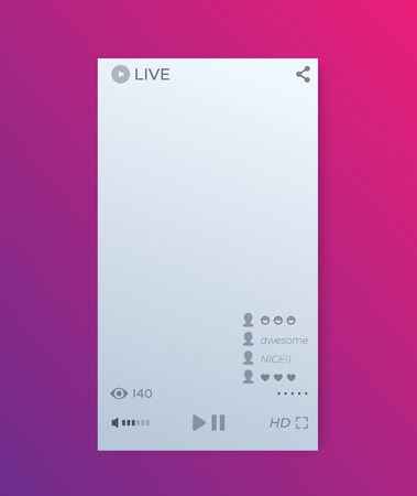 LIVE streaming video player interface, mobile app vector ui