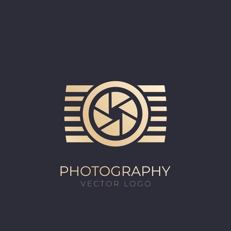 logo de vector de fotografía, dorado en la oscuridad Logos