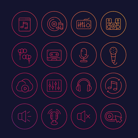 audio, music and sound line icons set