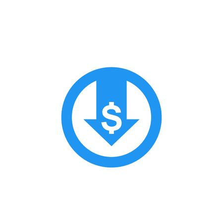 reducir costos, icono de vector