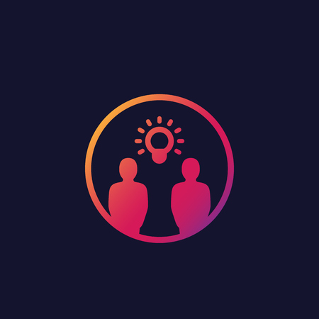 idea, insight, brainstorm, thinking vector icon with people
