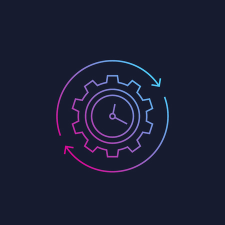 production cycle icon, linear style