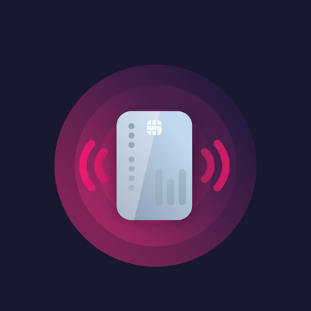 Contactless credit card payment icon, vector Çizim