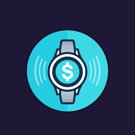 Contactless payment with smart watch vector icon