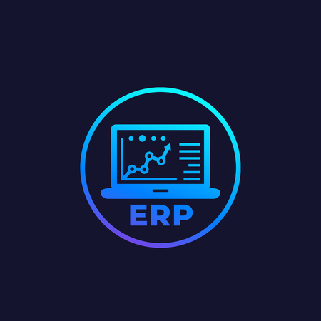 ERP system software, vector