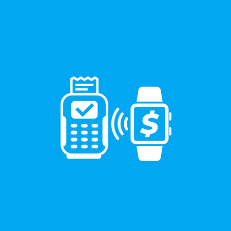 Contactless payment with pos terminal and smart watch vector icon Stok Fotoğraf - 125254432