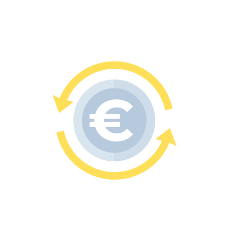 Euro exchange vector icon Illustration