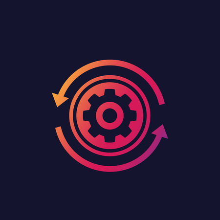 production cycle icon, cogwheel with arrows in circle Stock Illustratie