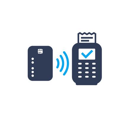 Paiement sans contact avec carte et terminal pos, icône vectorielle