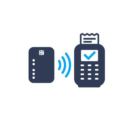 Contactless payment with card and pos terminal, vector icon