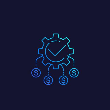 cash flow, funds optimization, vector linear icon