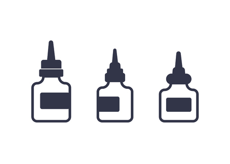 lubricant, oil for bike icons on white Illustration