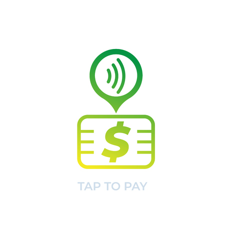 Contactless payment with card, vector icon