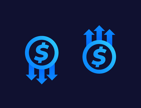 cost reduction and growth vector icons