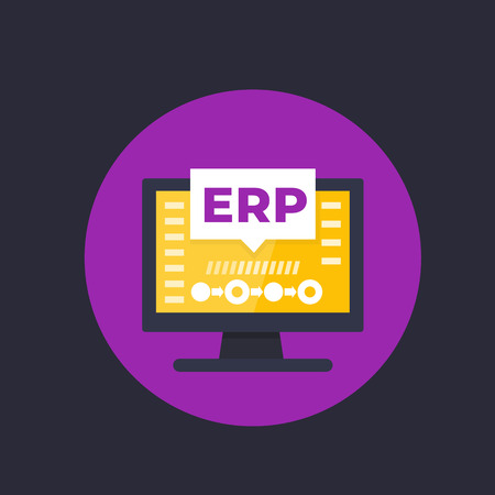 ERP, enterprise resource planning vector illustration