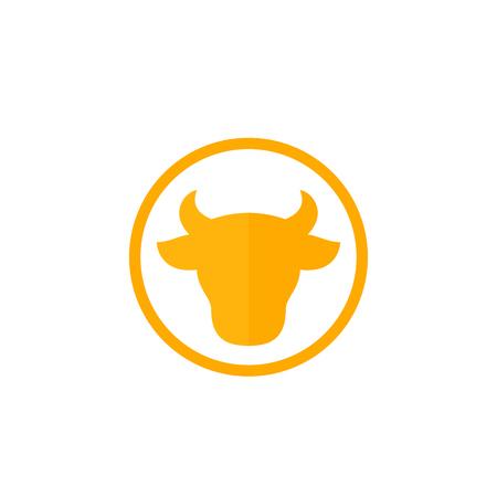 cow head, cattle farm logo, vector