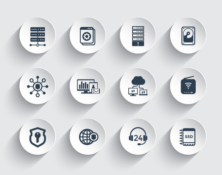 Hosting, servers, network infrastructure, data storage icons set