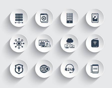 Hosting, servers, network infrastructure, data storage icons set 矢量图片