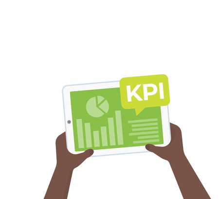 KPI and business analytics, key performance indicators, tablet with graphs in hands