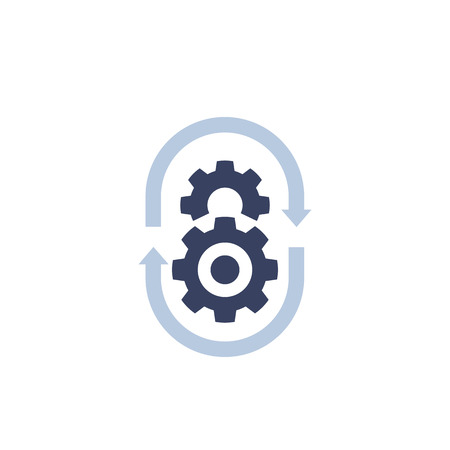 production cycle icon with cogwheels and arrows