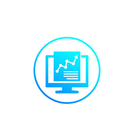 computer analysis and statistics vector icon in circle Illustration