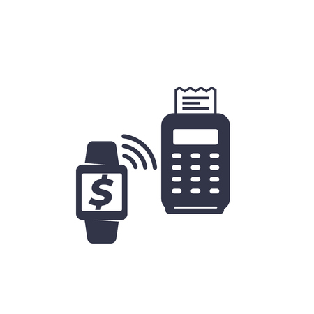 Contactless payment with pos terminal and smart watch Reklamní fotografie - 124443867