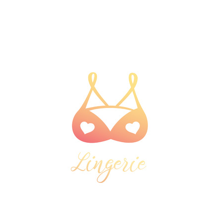 lingerie logo, bra with hearts vector icon