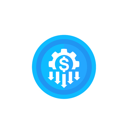 cost reduction icon, blue on white