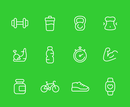 Fitness icons, line set