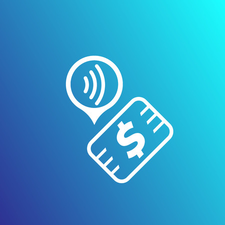 Contactless payment with card, wireless pay, vector icon