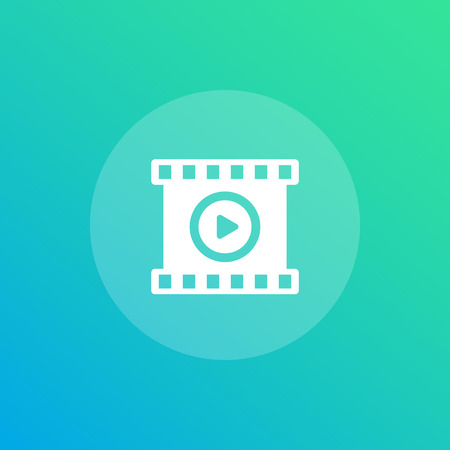 video vector icon with play symbol and film strip