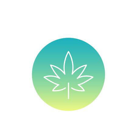Marijuana leaf, cannabis line icon Illustration