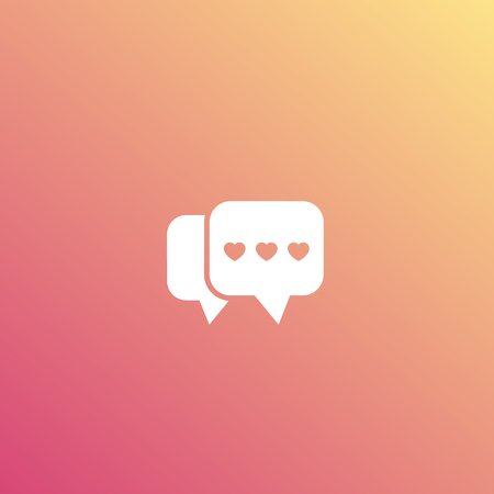 Dating app, love chat logo, vector icon Çizim