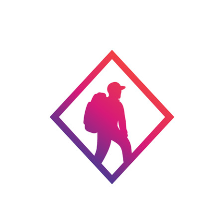 Hiker icon, backpacking, hiking vector logo