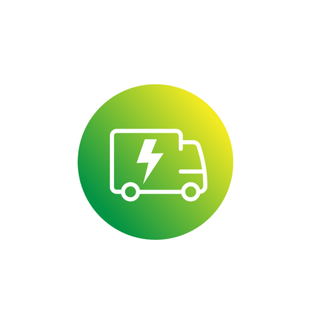 electric van, delivery truck icon Illustration