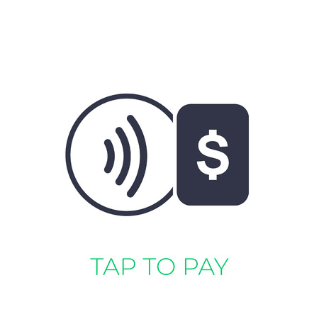 Contactless payment with card icon, tap to pay vector sign Banco de Imagens - 124443904