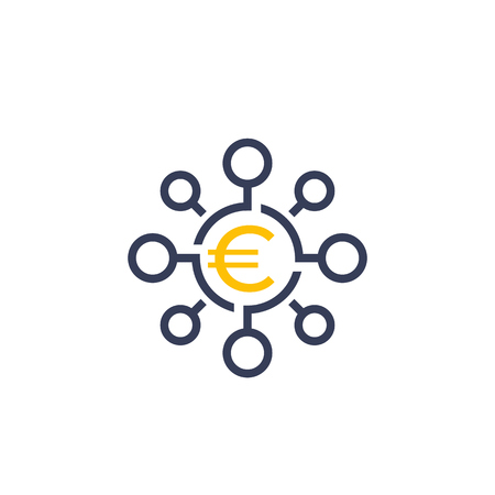 Financial diversification, diversified investment icon with euro 일러스트