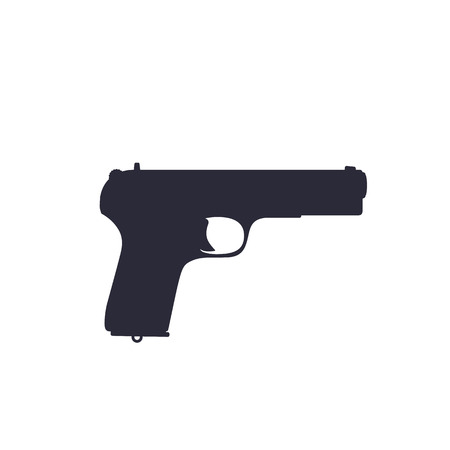 pistol, old soviet world war 2 handgun silhouette isolated on white