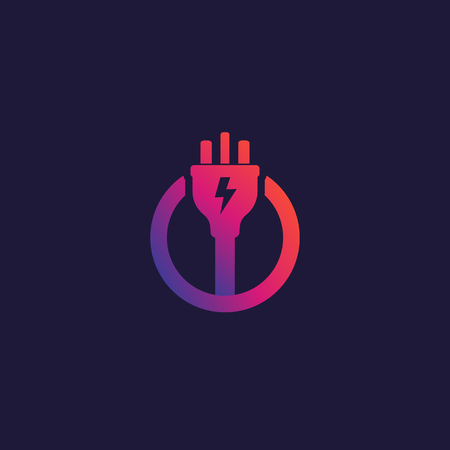 electricity vector icon, logo with electric plug