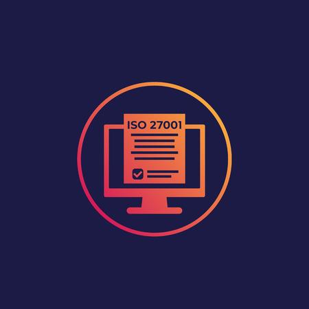 Icône de norme de sécurité de l'information ISO 27001 Vecteurs