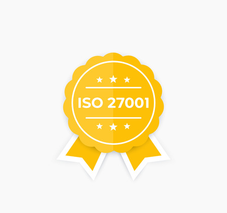 ISO 27001, information security standard, badge, vector label