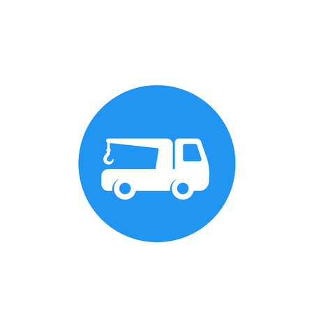 Car towing truck vector icon Illustration