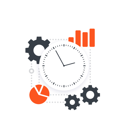 productivity, efficiency, performance analytics and time management, vector