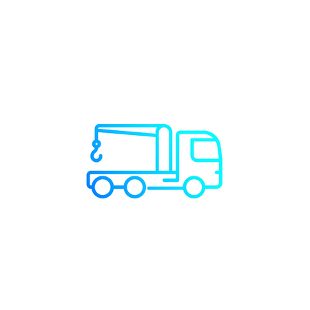 Car towing truck, linear vector