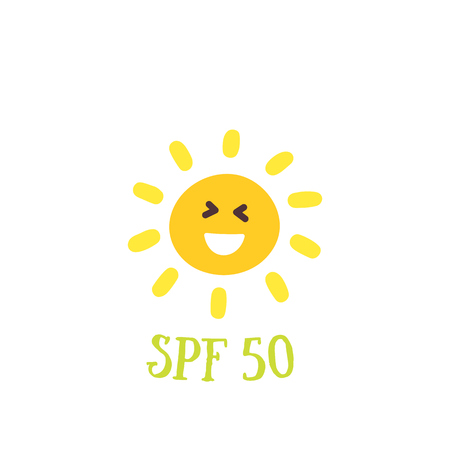 Sun Protection Factor, spf 50 vector illustration Illustration