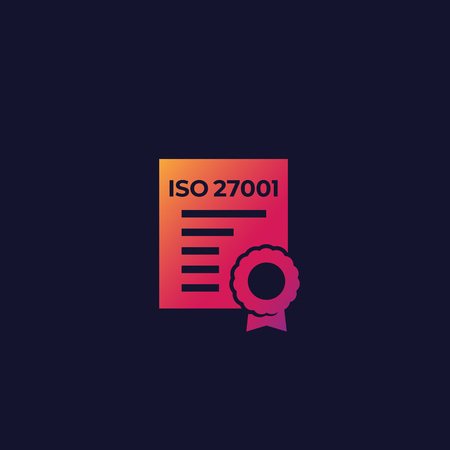 ISO 27001 certificate vector icon